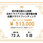 日本トライアスロン選手権、応援クラウドファンディング、目標額達成できました!